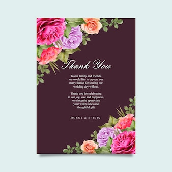 Modelo de cartão de casamento com floral colorido