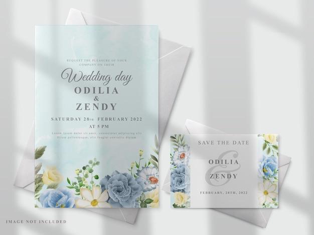 Modelo de cartão de casamento com flores desenhadas à mão