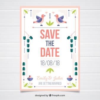 Modelo de cartão de casamento com flores planas