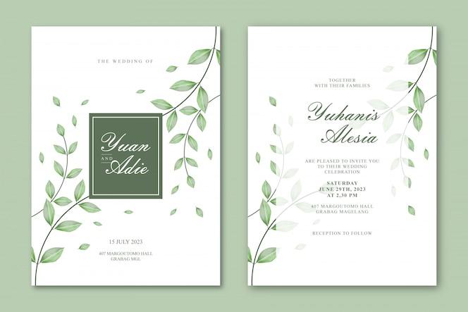 Modelo de cartão de casamento com folhas bonitas