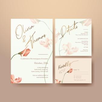 Modelo de cartão de casamento com ilustração em aquarela de conceito brilhante de primavera
