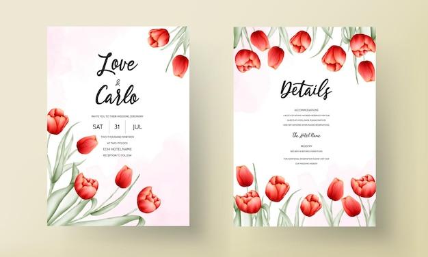 Modelo de cartão de casamento com linda flor de tulipa vermelha