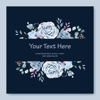 Modelo de cartão de casamento com linda guirlanda floral azul