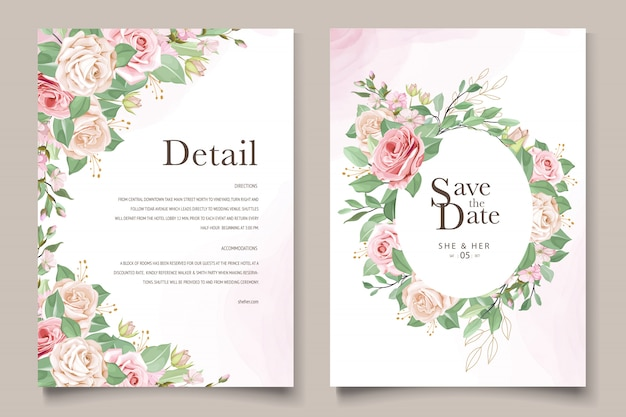 Modelo de cartão de casamento com linda guirlanda floral