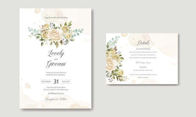 Modelo de cartão de casamento com lindas rosas e folhas