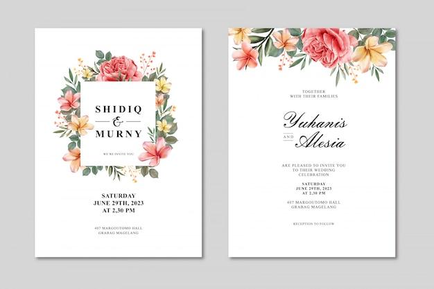 Modelo de cartão de casamento com moldura floral multiusos