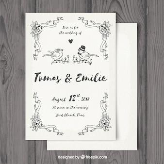 Modelo de cartão de casamento com ornamentos desenhados à mão