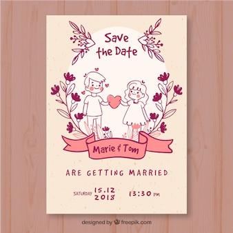 Modelo de cartão de casamento com personagens desenhados a mão