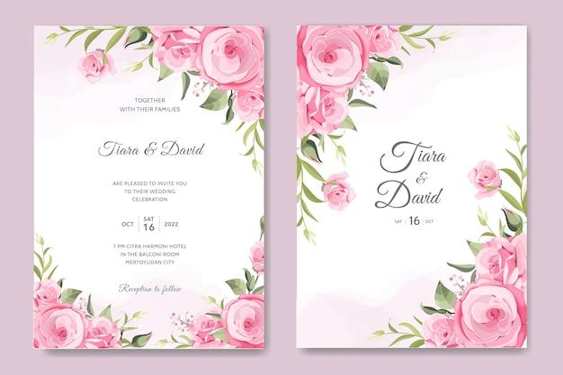 Modelo de cartão de casamento com rosas rosa suave
