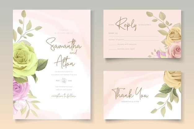 Modelo de cartão de casamento com tema floral