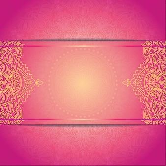 Modelo de cartão de casamento convite lindo com ornamento floral patern redondo