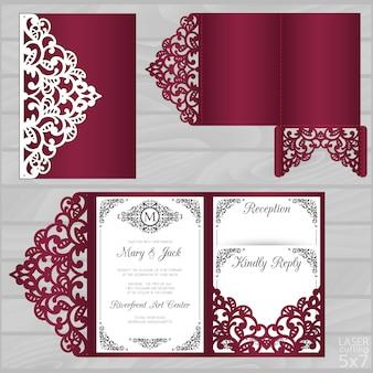 Modelo de cartão de casamento cortado a laser. envelope de bolso dobrável em três partes.