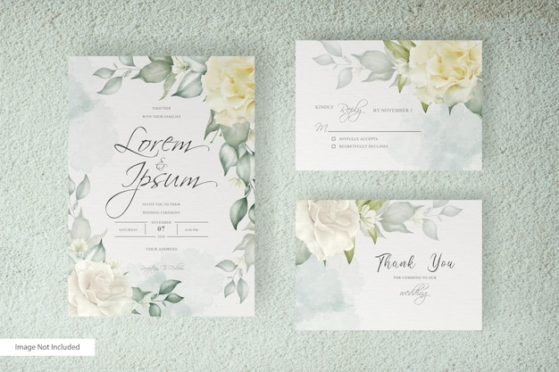 Modelo de cartão de casamento de arranjo floral em aquarela com decoração floral e de folhas