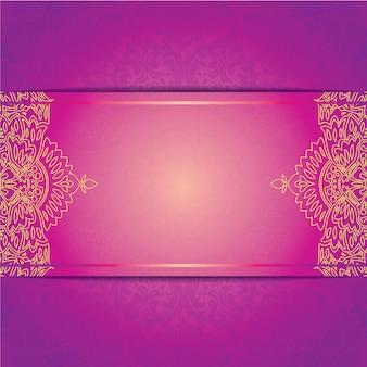 Modelo de cartão de casamento de convite de vetor com ornamento floral patern redondo