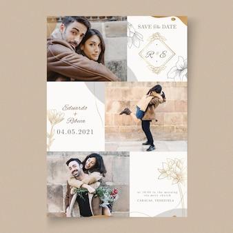 Modelo de cartão de casamento de estilo mínimo