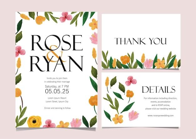 Modelo de cartão de casamento de flor ditsy