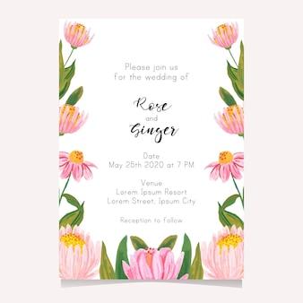 Modelo de cartão de casamento de flores bonitas