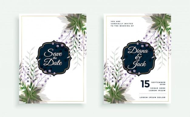 Modelo de cartão de casamento de folhas verdes e flores