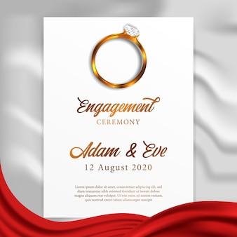 Modelo de cartão de casamento de noivado de anel