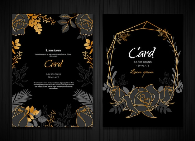 Modelo de cartão de casamento de ouro floral escuro