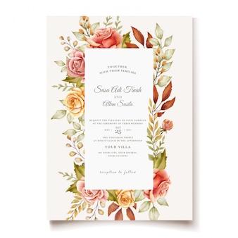 Modelo de cartão de casamento desenhada de mão