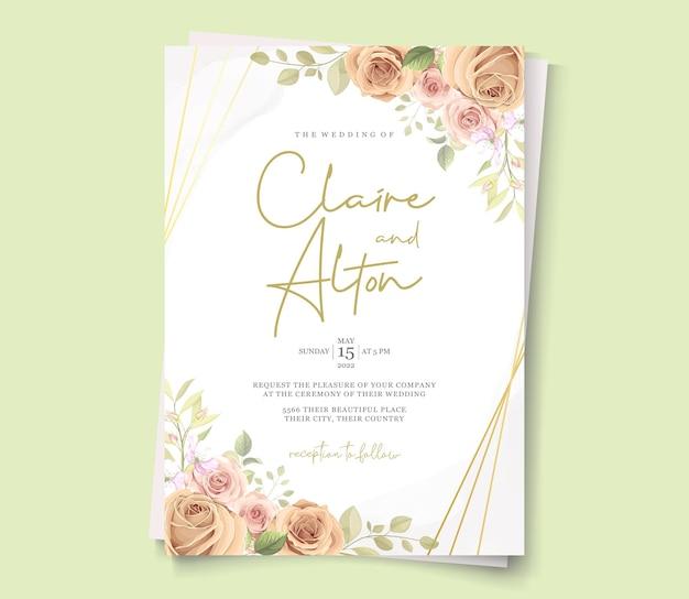Modelo de cartão de casamento desenhado à mão com design floral