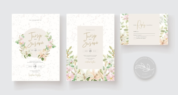 Modelo de cartão de casamento design floral