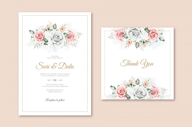 Modelo de cartão de casamento elegante com aquarela buquê floral