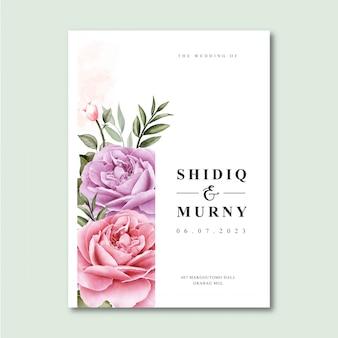 Modelo de cartão de casamento elegante com aquarela floral