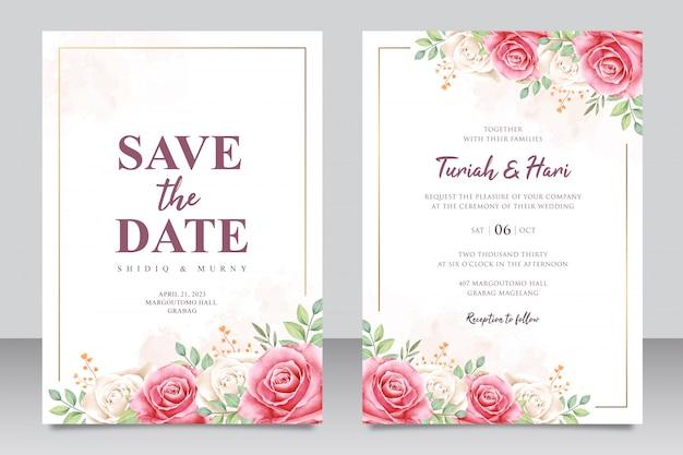 Modelo de cartão de casamento elegante com bela moldura floral multiuso