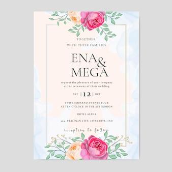 Modelo de cartão de casamento elegante com coroa de rosas lindas