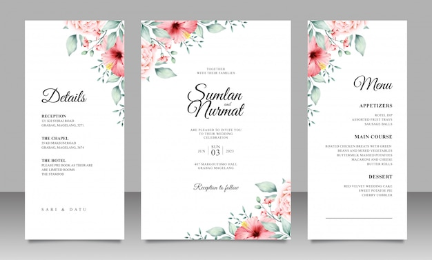 Modelo de cartão de casamento elegante com decoração floral minimalista