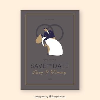 Modelo de cartão de casamento elegante com estilo vintage
