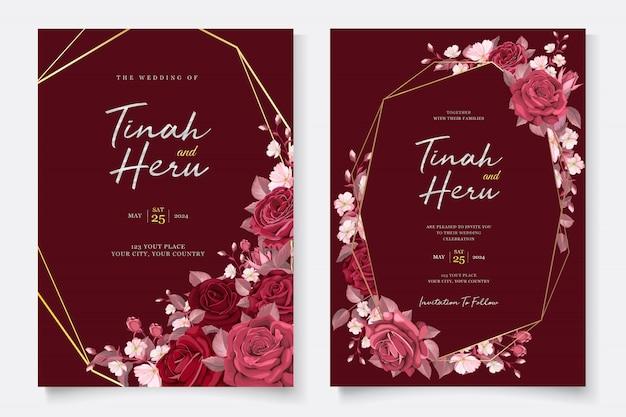 Modelo de cartão de casamento elegante com floral marrom e folhas