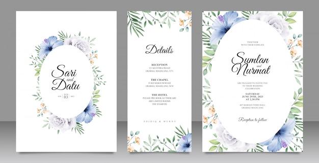 Modelo de cartão de casamento elegante com flores e folhas aquarel