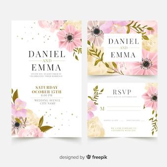Modelo de cartão de casamento elegante com flores realistas
