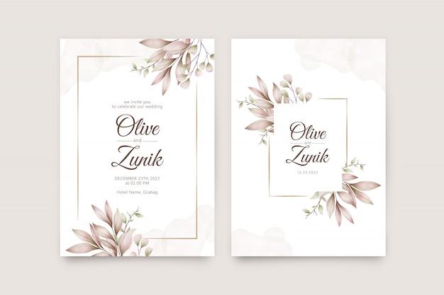 Modelo de cartão de casamento elegante com folhas bonitas em aquarela