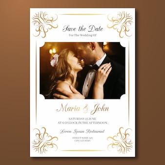Modelo de cartão de casamento elegante com foto