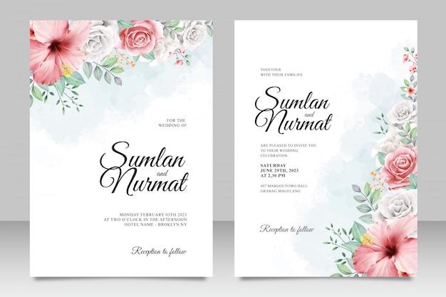 Modelo de cartão de casamento elegante com fundo aquarela jardim de flores