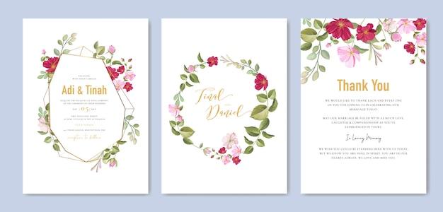 Modelo de cartão de casamento elegante com grinalda de lindas rosas