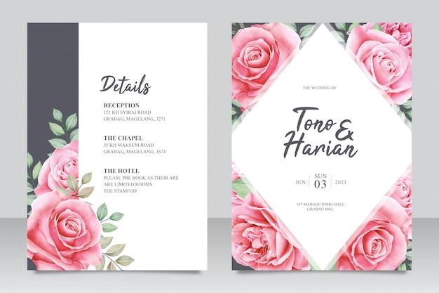 Modelo de cartão de casamento elegante com lindas flores e folhas