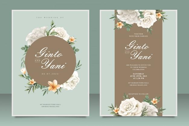 Modelo de cartão de casamento elegante com moldura floral