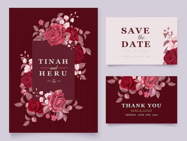 Modelo de cartão de casamento elegante conjunto com marrom floral e folhas