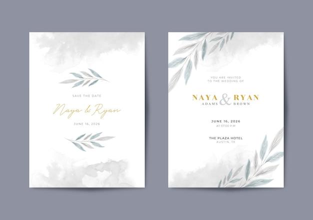 Modelo de cartão de casamento em aquarela elegante