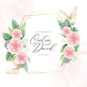 Modelo de cartão de casamento em aquarela floral e moldura de borboleta