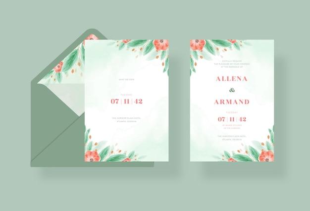 Modelo de cartão de casamento em aquarela floral linda