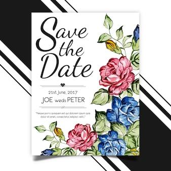 Modelo de cartão de casamento em aquarela Vetor Premium