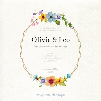 Modelo de cartão de casamento em aquarela