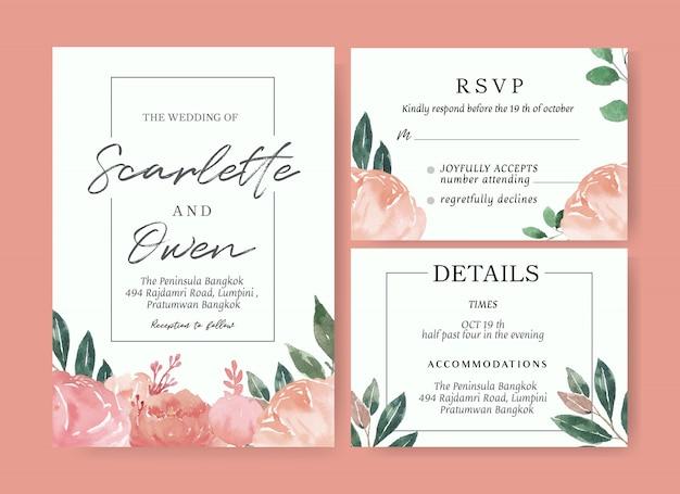 Modelo de cartão de casamento floral aquarela
