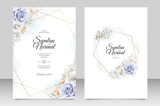 Modelo de cartão de casamento floral com geometria moldura dourada